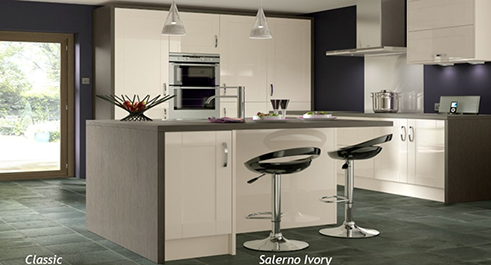 image of a kitchen with slate grey and white theme