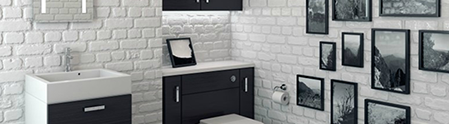 image of a modern bathroom with a white brick and ebonised wood theme