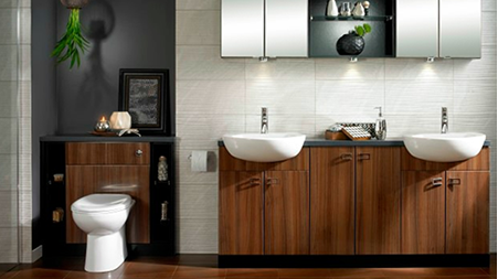 image of a modern bathroom with a mahogany and white theme