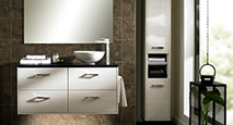image of a modern bathroom with a dark brown tiled and crisp white theme