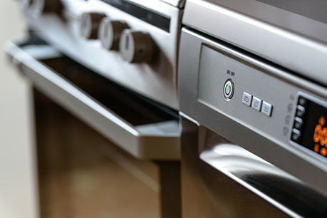 image of a modern matte grey cooking oven